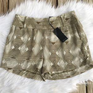 Anthropologie Greylin NWT Silk Olive Stripe Shorts
